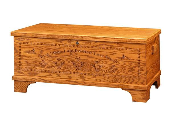 Amish Barossa Oak Wood Medium Flat Top Hope Chest