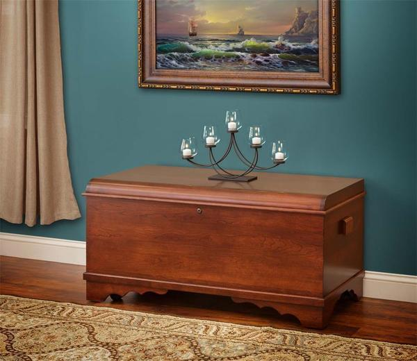 Amish Cherry Wood Large Waterfall Hope Chest