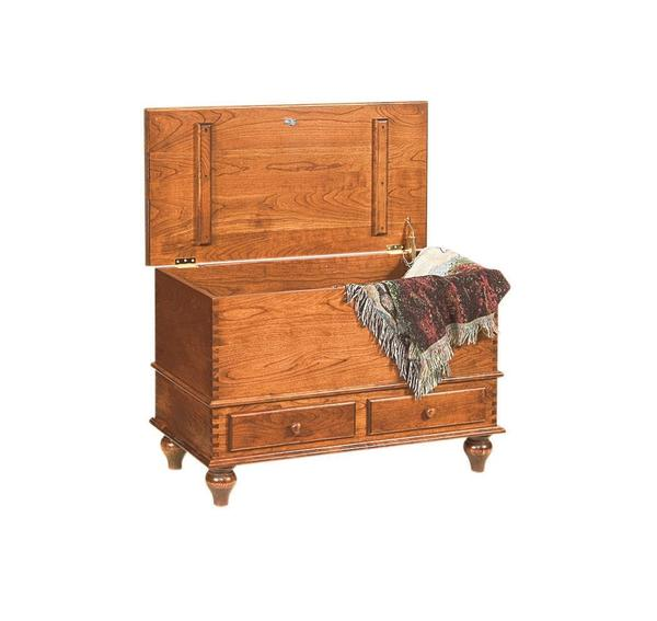 Amish Cherry Deep Storage Hope Chest with Tulip Feet