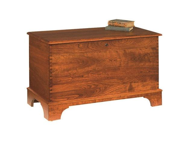 Amish Gladwin Cherry Furniture Deep Storage Hope Chest with Shaker Base