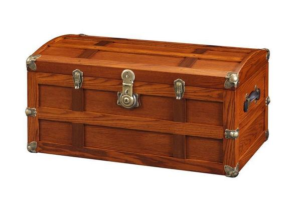Amish Benderson Oak Wood Steamer Trunk