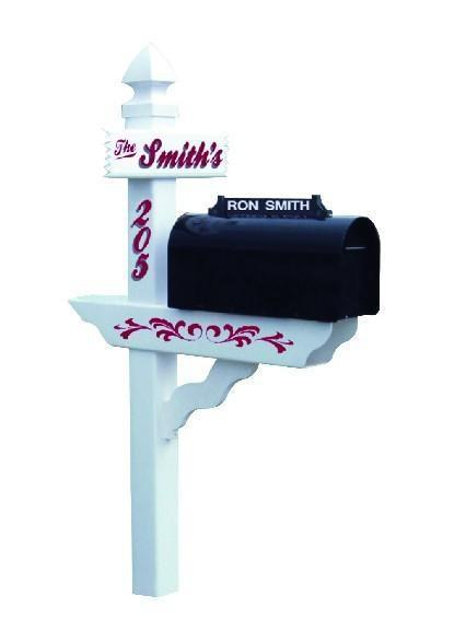 Amish Vinyl White Classic Mailbox Post with Newspaper Holder