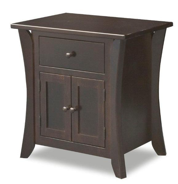 Amish Caledonia Shaker Nightstand with Two Doors