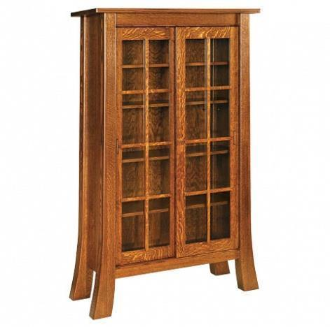 Amish Office Furniture Witmer Shaker Bookcase with Sliding Doors