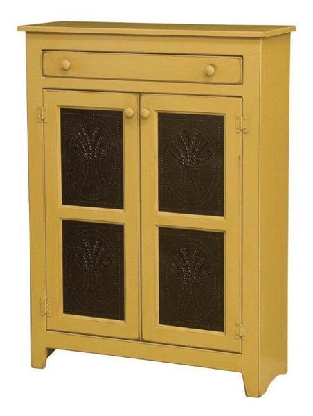 Amish Large Pine Wood Pie Safe with Tin Doors