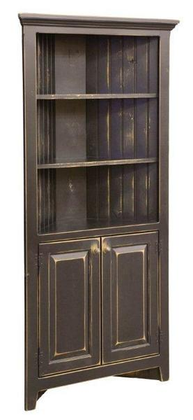 Amish Pine Wood Corner Cabinet Hutch