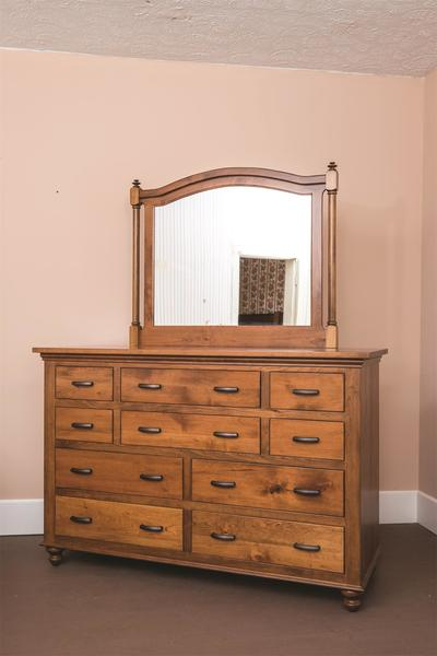 "Amish Sunbury 63"" Dresser with Optional Beveled Mirror"