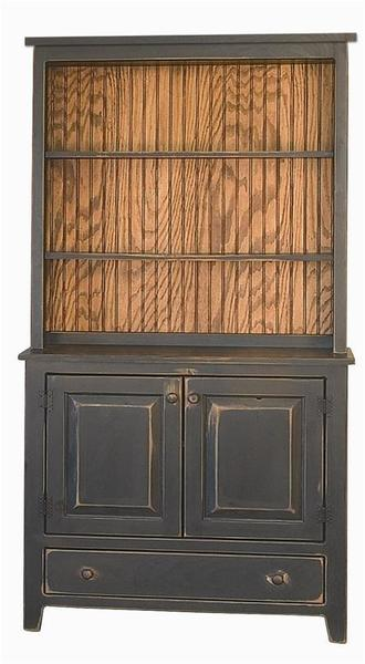 Amish Biscuit Hutch in Pine Wood with Flat Top