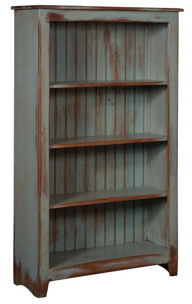 "Amish Primitive Pine Bookcase - 60"" Height"