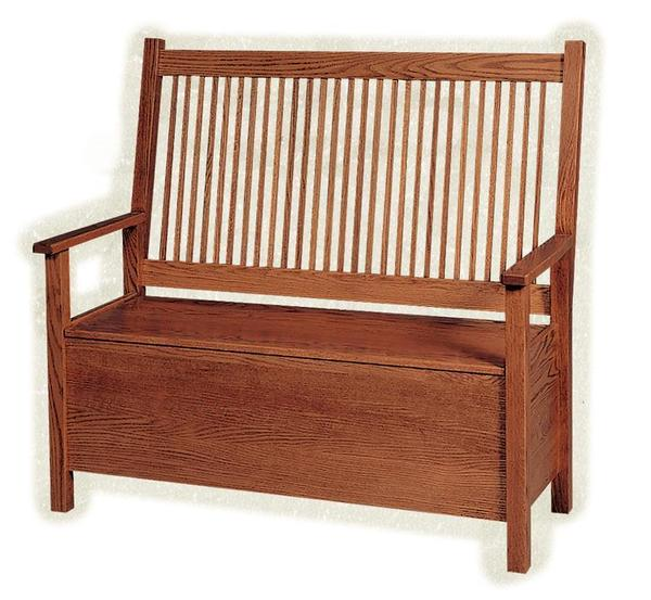Amish American Mission Deacon's Bench with Storage