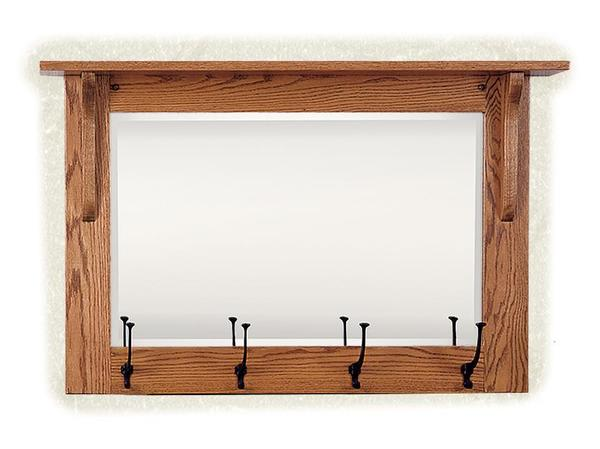 Mission Wall Mirror with Hooks