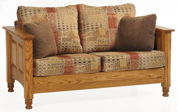 Amish Traditional Wood Trim Loveseat