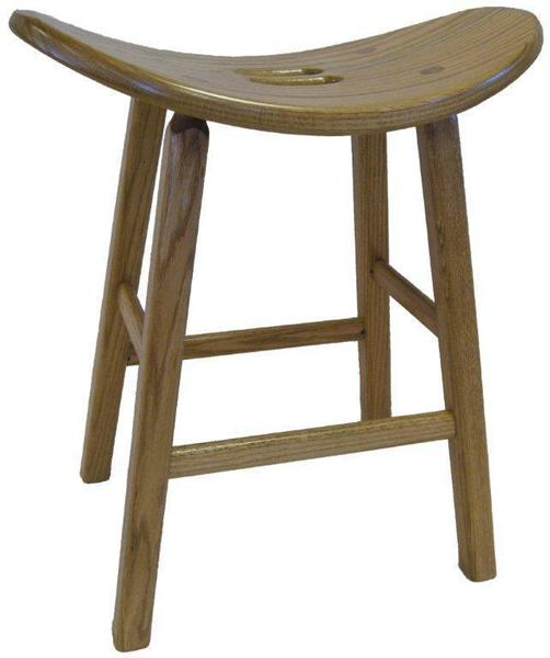 Amish Kitchen Saddle Stool with Square Leg