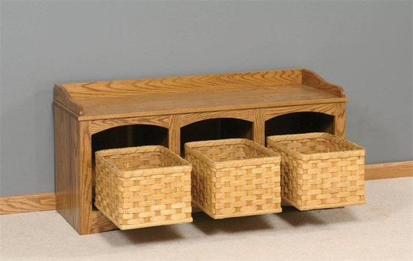 Amish Mission Bench with Baskets