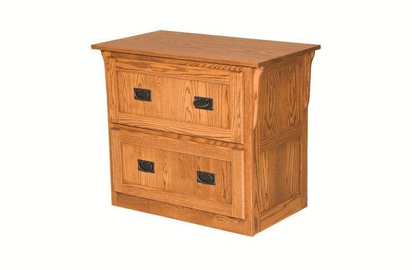 Amish Mission Lateral File Cabinet with Two Drawers