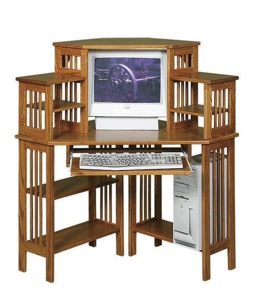 Amish Mission Corner Computer Desk with Hutch