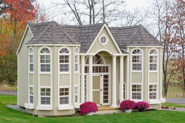 Amish Handcrafted Grand Portico Mansion Playhouse