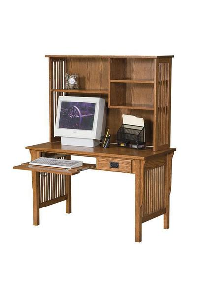 Amish Mission Computer Desk with Open Bookcase Hutch Top