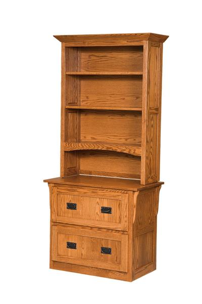 Amish Mission 2 Drawer Lateral Filing Cabinet with Hutch Top