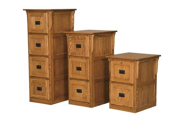 Amish Flat Panel Mission Three Drawer File Cabinet