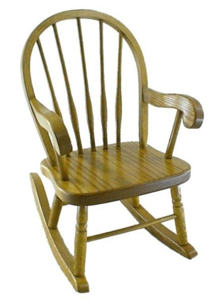 Amish Legacy Oak Wood Windsor Kids' Rocking Chair