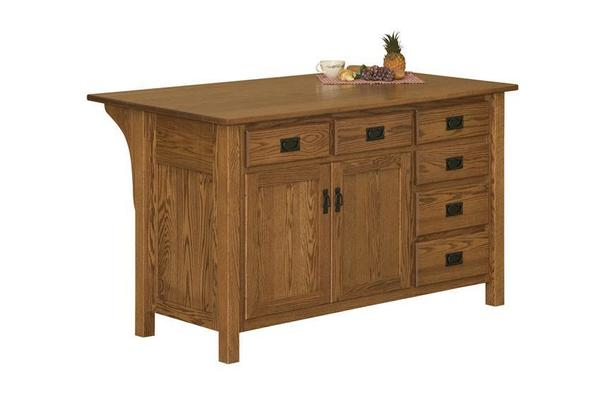 Amish Mission Style Kitchen Island with Drawers on Right Side