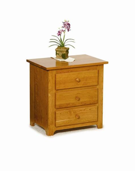Amish Three Drawer Shaker Nightstand