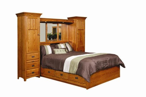 Amish Monterey Pier Wall Bed Unit with Platform Storage Base  sc 1 st  DutchCrafters & Amish Platform Storage Bed with Wall Storage Unit Headboard