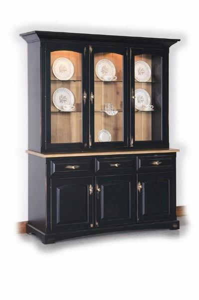Amish Solid Wood Three Door Hutch