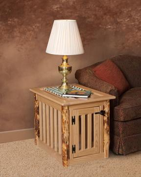 Amish Made Log Dog Crate End Table
