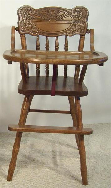 Amish Sunburst Wooden High Chair