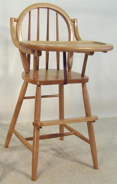 Amish Bow-Back Wooden High Chair
