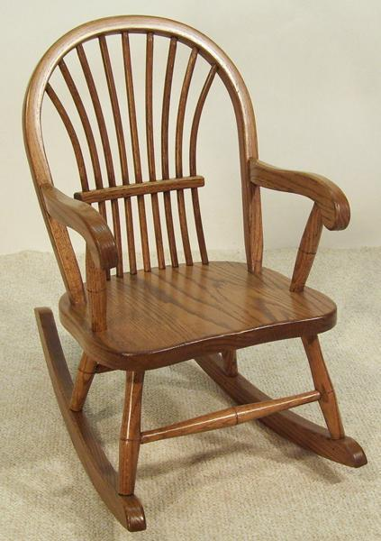 Amish Bow-Back Oak Kids' Rocking Chair