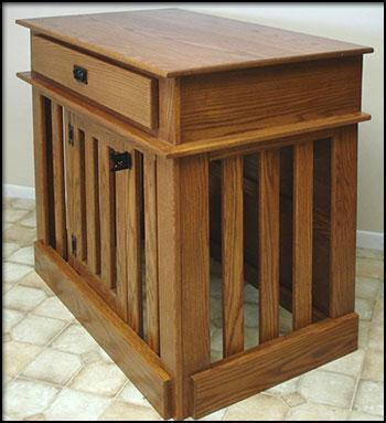 Amish Made Dog Crate Kitchen Island
