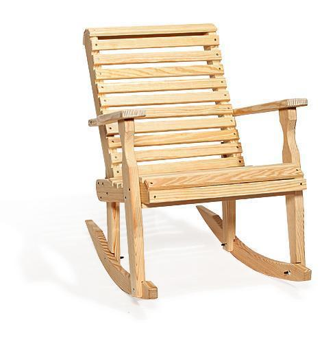 Amish Pine Roll Back Rocking Chair