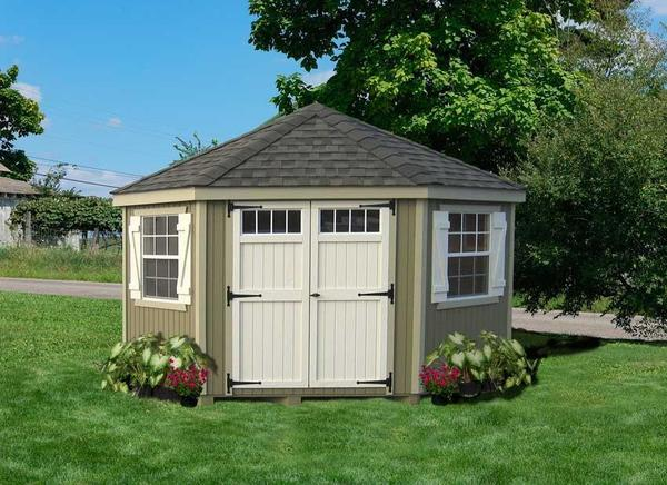 Amish Wood Colonial Five-Corner Shed