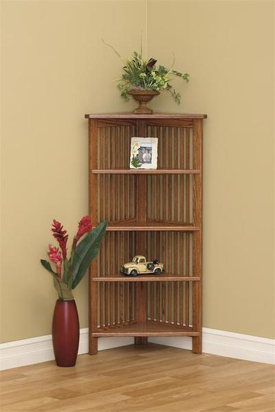 Amish Arts and Crafts Open Corner Bookcase