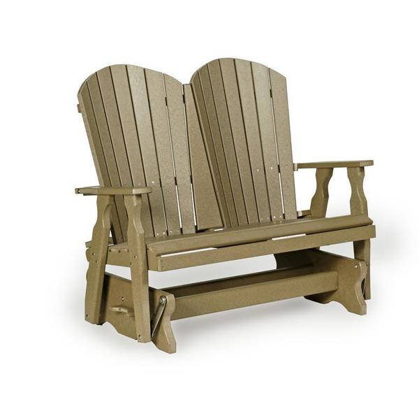 Amish Made Adirondack Fan-Back Poly Glider Bench