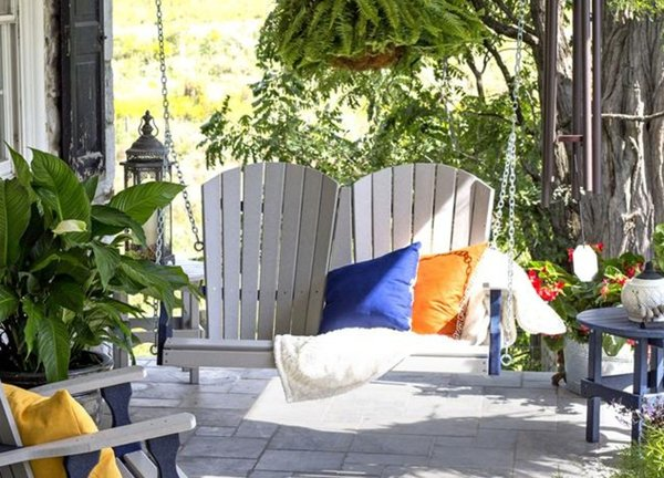 Amish Made Leisure Lawns Adirondack 4' Fan-Back Poly Porch Swing