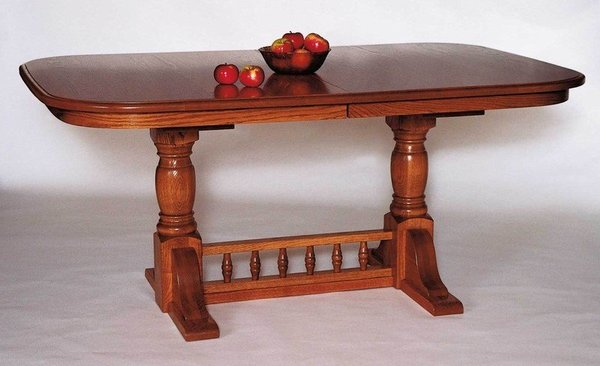 Amish Double Pedestal Innkeepers Dining Room Table