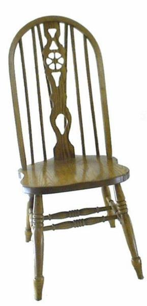 Amish Wheel Fiddleback Windsor Dining Room Chair
