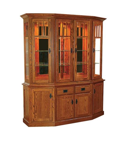 Amish American Mission Canted Front Hutch