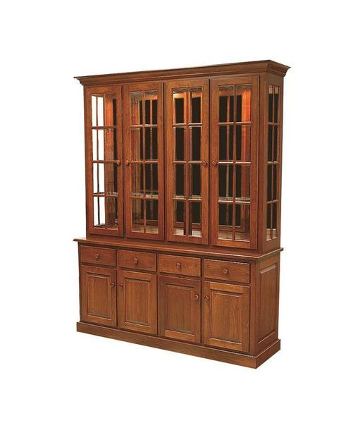 Amish Shaker Four-Door Mirror Back Hutch