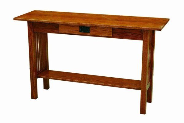 Amish Arts and Crafts Mission Sofa Table with Drawer