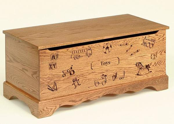 Amish Made Roswell Oak Wood Toy Chest with Carving and Optional Engraving