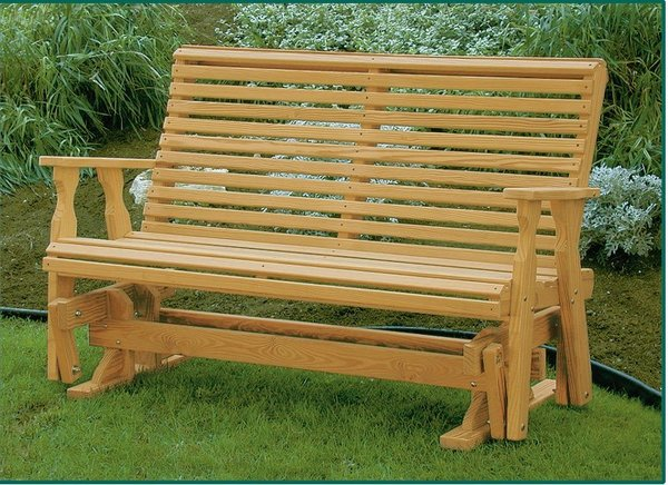 Amish Leisure Lawns Pine Wood Roll Back Glider Bench
