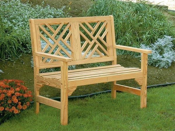 Amish Pine Wood 4' Chippendale Garden Bench