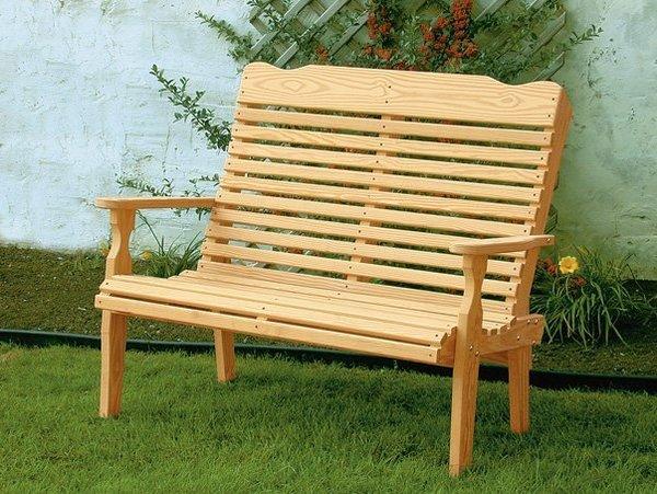 Amish Pine Wood Curve Back Park Bench