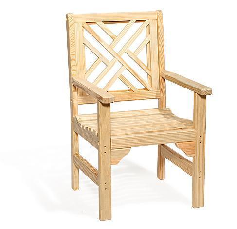 Amish Pine Wood Chippendale Garden Chair