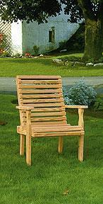 Amish Leisure Lawns Pine Wood Rollback Outdoor Chair